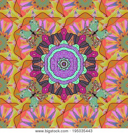 Vector Ethnic Oriental Circle Ornament. Islam Arabic Indian ottoman motifs on a colored background. Flower Mandala seamless pattern.