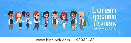 Group Of Mix Race School Kids, Happy Smiling Schoolchildren Diverse Flat Vector Illustration