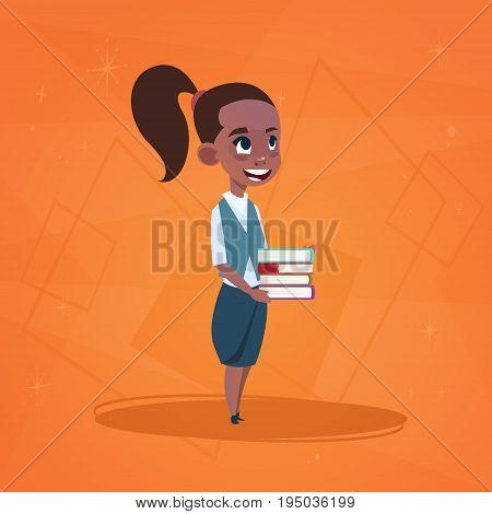 Small School Girl Asian, Cartoon Schoolgirl Student Flat Vector Illustration