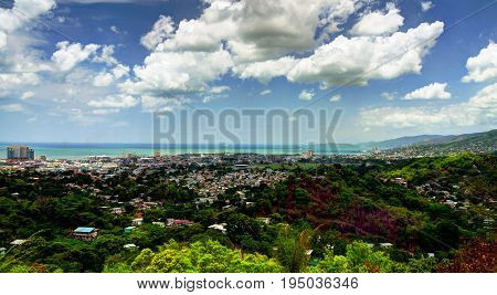 Panorama aerial view to Port of Spain in Trinidad and Tobago