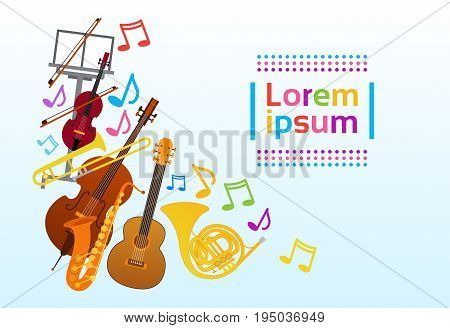 Musical Instruments Set Colorful Banner With Copy Space Flat Vector Illustration
