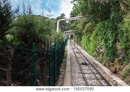 Funicular railway to mount Tibidabo in Barcelona, Spain