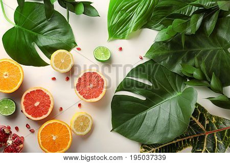 Beautiful composition with variety of fresh exotic plants and fruits on white background, top view