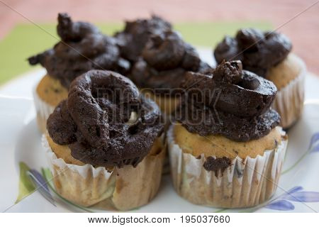 made by hand muffins with melted chocolate