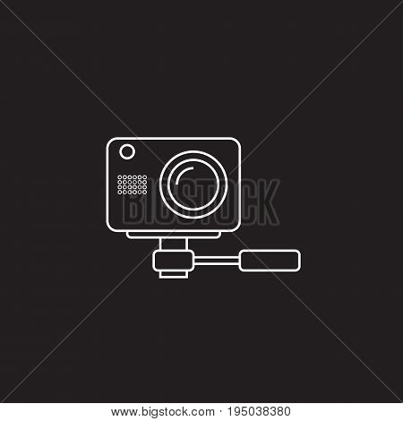 webcam line icon, outline vector logo, linear pictogram isolated on black, pixel perfect illustration poster