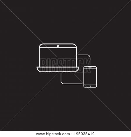 Sync devices line icon, outline vector logo illustration, linear pictogram isolated on black