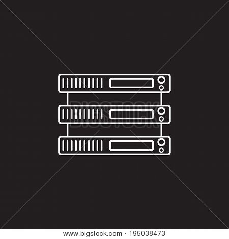 Server line icon, network storage outline vector logo illustration, linear pictogram isolated on black
