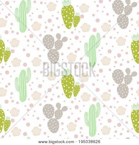 Cactus desert vector seamless pattern. Green and grey nature fabric print texture. Green mint cacti on white for wallpaper and textile apparel.