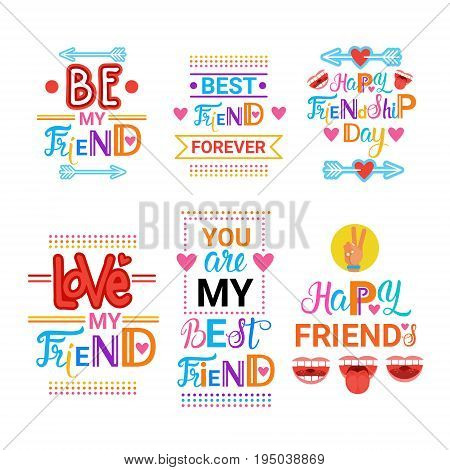 Happy Friendship Day Greeting Cards Set Friends Holiday Banner Flat Vector Illustration