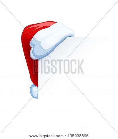 Santa Claus cap hang at corner. Christmas accessory. Isolated white background. Vector illustration.