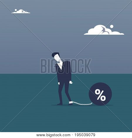 Business Man Chain Bound Legs Credit Debt Finance Crisis Concept Flat Vector Illustration