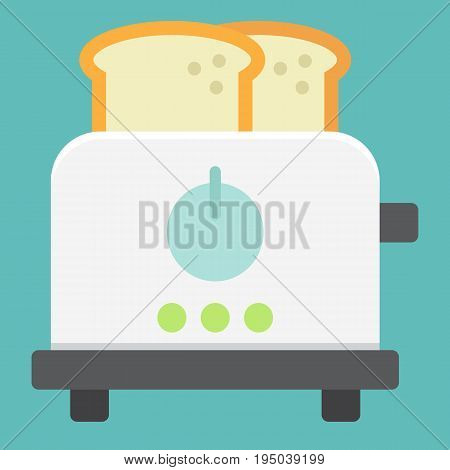 Toaster flat icon, kitchen and appliance, vector graphics, a colorful solid pattern on a white background, eps 10.