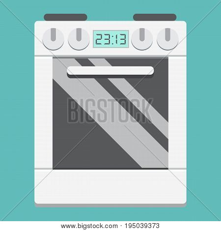 Gas stove flat icon, kitchen and appliance, electric range vector graphics, a colorful solid pattern on a white background, eps 10.