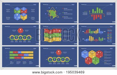 Infographic design set can be used for workflow layout, diagram, annual report, presentation, web design. Business and consulting concept with process, radar, bar and percentage charts.
