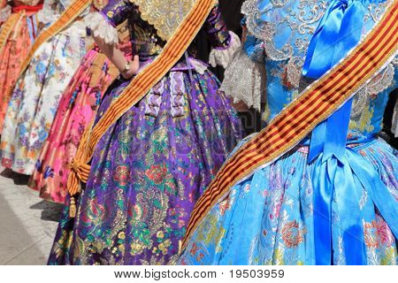 falleras costume fallas dress detail from Valencia Spain fest celebration poster