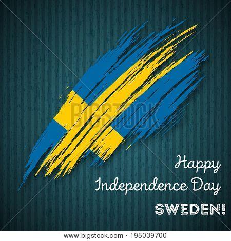 Sweden Independence Day Patriotic Design. Expressive Brush Stroke In National Flag Colors On Dark St