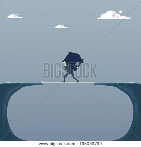Business Man Walking Over Cliff Gap Carrying Dollar Sign Credit Debt Finance Crisis Concept Flat Vector Illustration