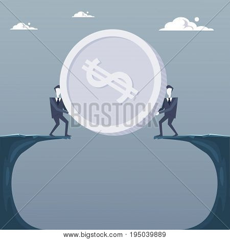 Business Men Giving Coin Over Cliff Gap Partners Teamwork Financial Cooperation Concept Flat Vector Illustration