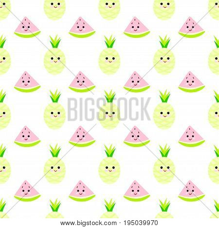 Watermelon, pineapple cartoon seamless childlike pattern vector