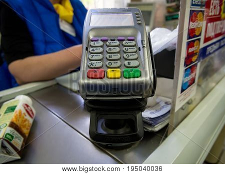 Voronezh, Russia - May 6, 2017: Card reader at the cash register of the store