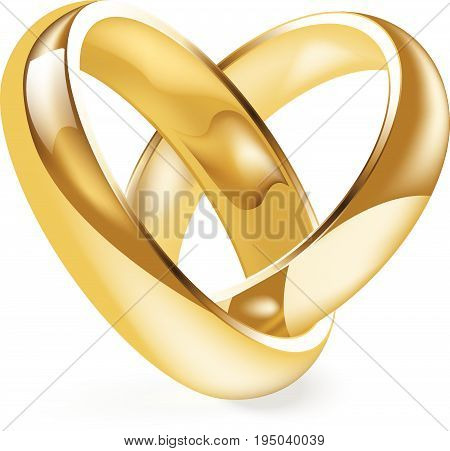 Shiny gold engagement ring vector illustration..Golden wedding ring isolated on a white background.
