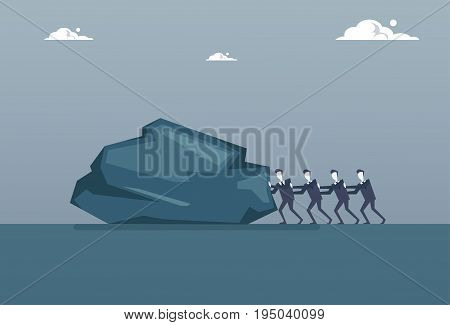 Business Man Group Pushing Big Stone Professional Teamwork Problem Crisis Concept Flat Vector Illustration