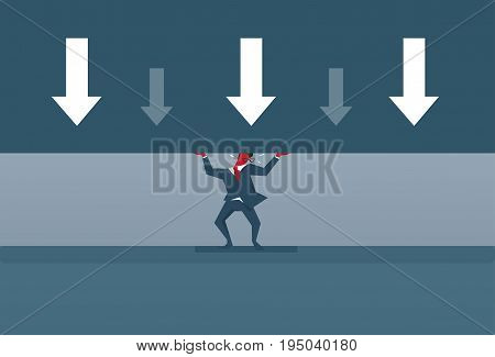 Arrows Down Pressure On Business Man Finance Problem Analysis Financial Fail Concept Flat Vector Illustration