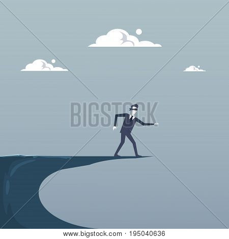 Business Man Blind Walking To Cliff Gap Crisis Risk Concept Flat Vector Illustration