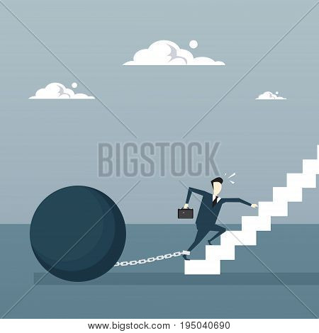 Business Man Chain Bound Legs Walking Upstairs Credit Debt Finance Crisis Concept Flat Vector Illustration