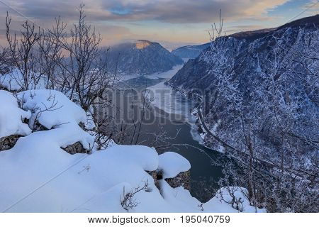 landscape in the Danube Gorges. Cazanele Mari seen from the Romanian side