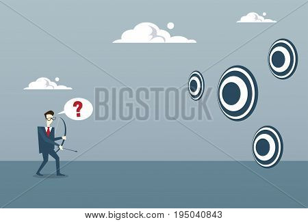 Business Man Choosing Target To Aim With Bow Businessman Making Decision Concept Flat Vector Illustration