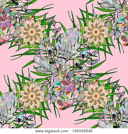 Floral watercolor seamless background. Vector textile print for bed linen jacket package design fabric and fashion concepts. Seamless pattern with pink flowers.