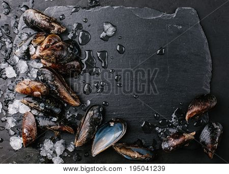 Mussels over a stone background. Food frame.Top view. Copy space.