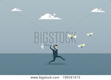 Business Man Catching Light Bulbs With Butterfly Net New Ideas Inspiration Concept Flat Vector Illustration
