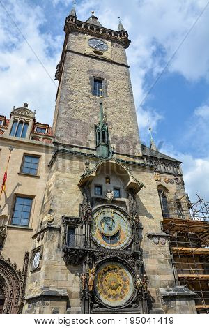 The Astronomical Clock And The Tower Of The Town Hall Of Prague, Czech Republic