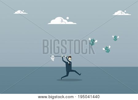 Business Man Catching Coins With Butterfly Net Finance Success Concept Flat Vector Illustration