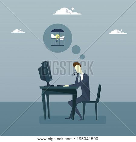Business Man Working On Computer With Light Bulb In Cage New Idea Crisis Problem With Inspiration Concept Flat Vector Illustration
