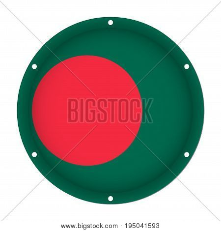 round metallic flag of Bangladesh with six screw holes in front of a white background