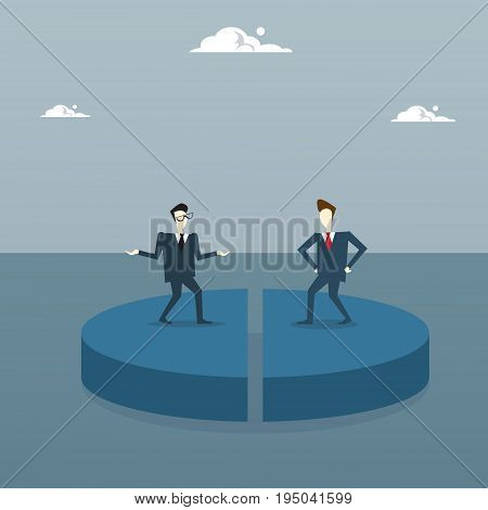 Tow Business Men On Pie Diagram Getting Equal Shares, Businessmen Competition Success Concept Flat Vector Illustration