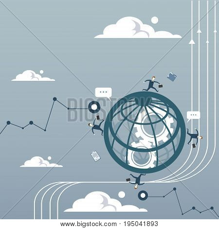 Business People Group Over Abstract Globe With Cog Wheel Braistorming Team Cooperation Concept Flat Vector Illustration
