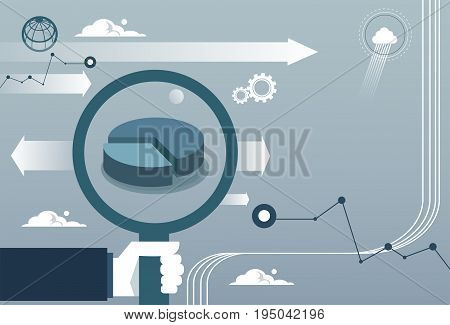 Businessman Hand Hold Magnifying Glass Analysis Finance Graph Financial Business Flat Vector Illustration