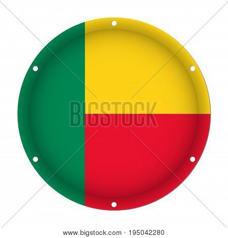 round metallic flag of Benin with six screw holes in front of a white background