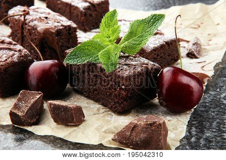 Homemade Chocolate Brownies On Grey Vintage Background, Chocolate Cake Concept