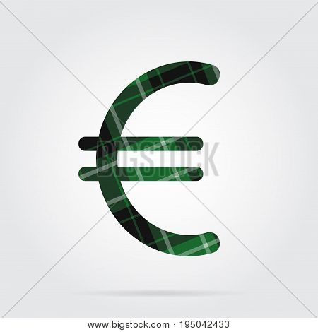 green black isolated tartan icon with white stripes - euro currency symbol and shadow in front of a gray background