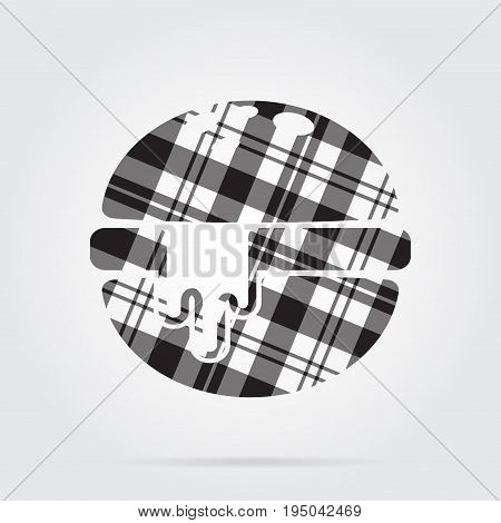 grayscale gray black isolated tartan icon with white stripes - hamburger with melted cheese and shadow in front of a gray background