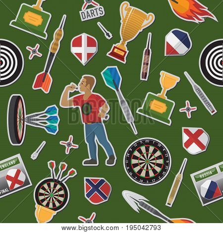 Darts pattern items, elements, labels, icons, symbols, emblems with darts men, dart, arrow, dartboard, trophy shield for sport and leisure theme design. Vector illustration art