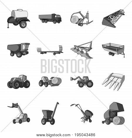 Trailer, dumper, tractor, loader and other equipment. Agricultural machinery set collection icons in monochrome style vector symbol stock illustration .