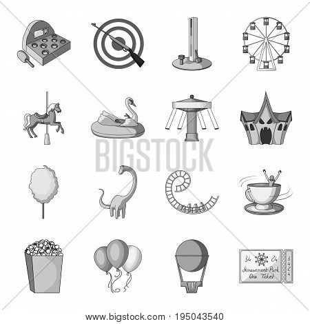 Carousel, shooting range, slides, cotton wool and other attributes.Amusement Park set collection icons in monochrome style vector symbol stock illustration .