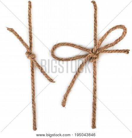 Rope with knot bow knot isolated on white background.