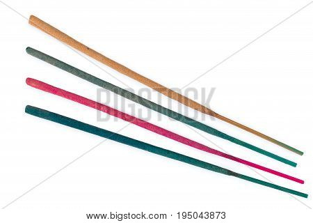 Incense sticks isolated on a white background.